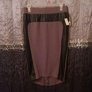 Hi-lo Pencil Skirt with Vegan Leather Trim